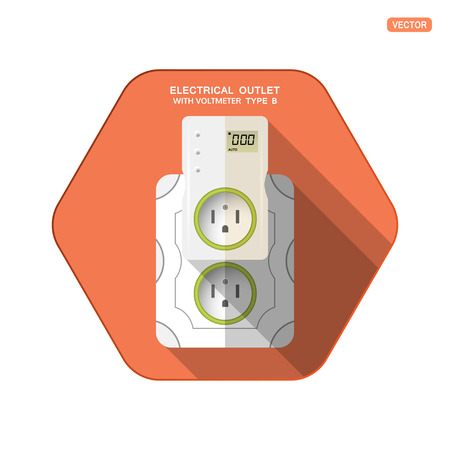Vector isolated icon of white electrical socket type B with digital voltmeter and LCD screen insert in outlet on the red hexagon background with shadow for use in USA, Canada, Mexico.