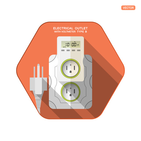 Vector isolated icon of white electrical socket type B with digital timer and LCD screen insert in outlet, electrical plug on the red hexagon background with shadow for use in USA, Canada, Mexico.