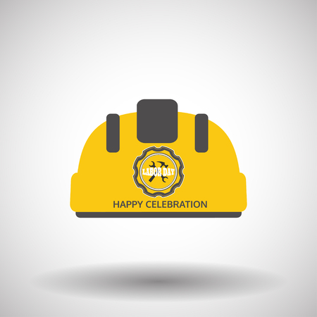 Happy Labor Day with vector yellow helmet with label icon and shadow on the gradient gray background.