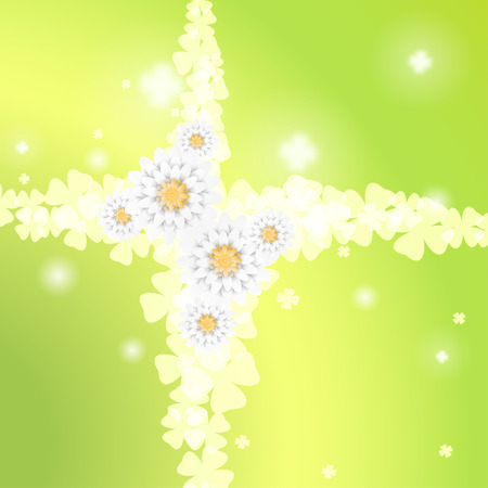 Vector gradient green background with intersecting curly branches of flowers. Ilustração