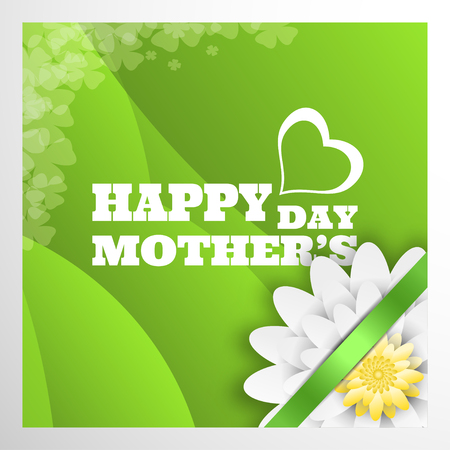 Vector greeting poster for Happy Mothers Day with text in the center, white flower and green stripe in the corner on the green waves background.
