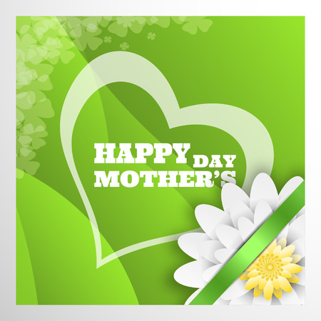 Vector greeting poster with green waves for Happy Mothers Day with silhouette of heart, white flower and green stripe on the gray background.