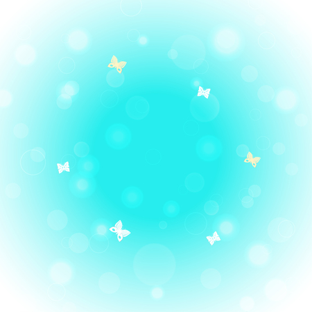 Vector gradient blue background with glow and butterflies. Illustration