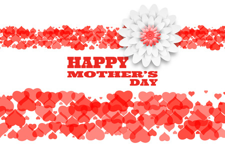 Vector Happy Mothers Day wide background from two bands of hearts, flower and red text.