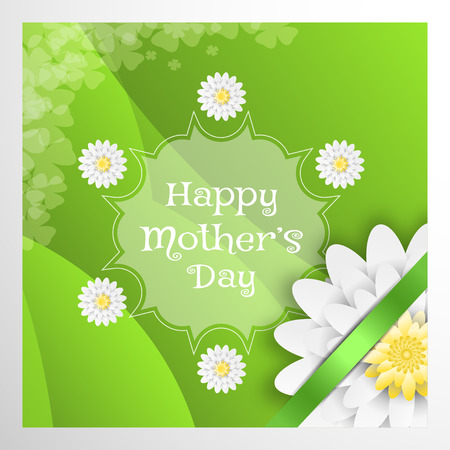 Vector greeting poster for Happy Mothers Day with green waves, transparency label in the center, white flower and green stripe in the corner on the gray background. Illustration