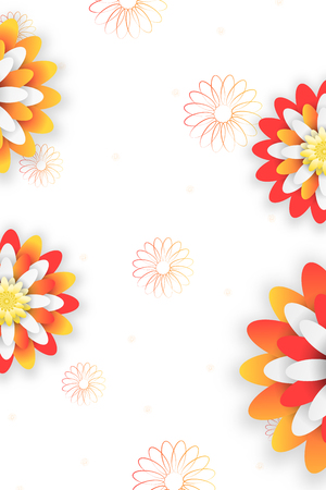 Vector abstract poster on the white background with yellow and red flowers, silhouettes of flower.