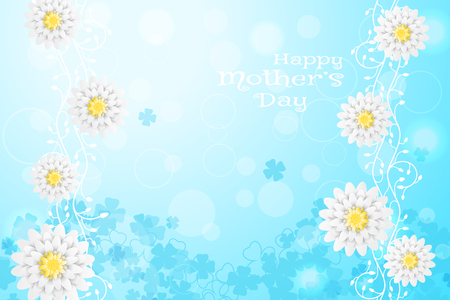 Happy Mothers Day vector wide poster on the gradient sunny blue background with floral pattern and white flowers. Illustration