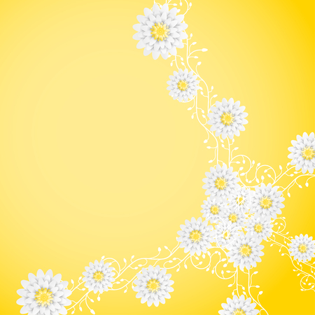 Vector gradient yellow background with curly branches of flowers.