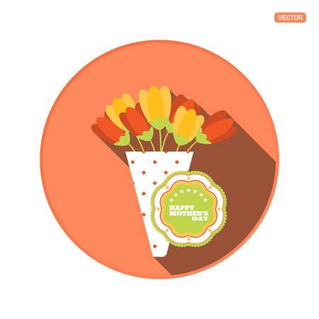 Vector round icon with bouquet of tulip flowers and label for Happy Mothers Day on the red background with shadow.
