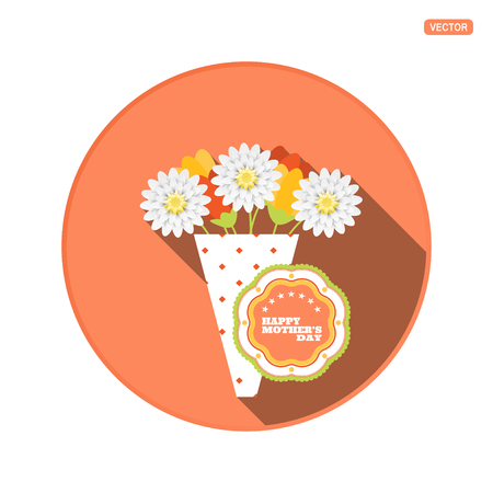 Vector round icon with bouquet of different flowers and label for Happy Mothers Day on the red background with shadow.