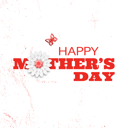 Happy Mothers Day vector poster with red text, flower and silhouette of butterfly on the white background with abstract pattern.