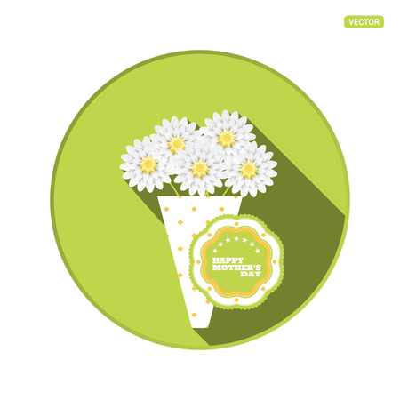 Vector round icon with bouquet of flowers and label for Happy Mothers Day on the green background with shadow.