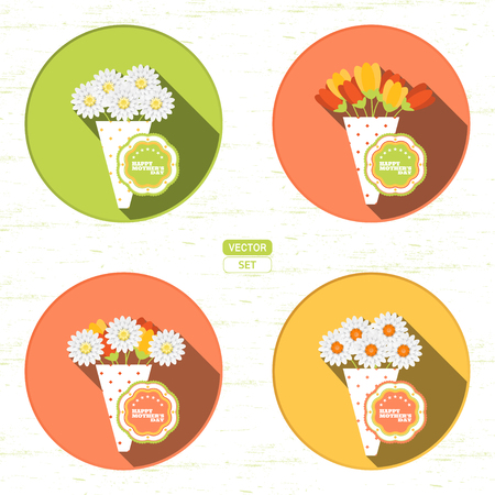 Vector set of round icons with bouquet of different flowers and label for Happy Mothers Day on the red background with shadow.
