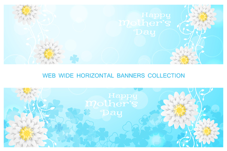 Two vector horizontal web banners of Happy Mothers Day on the gradient sunny blue background with floral pattern and white flowers. Ilustração