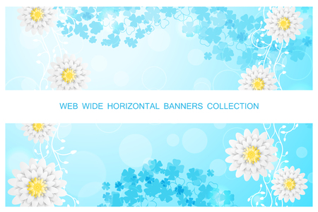 Two vector horizontal web banners with gradient sunny blue background, floral pattern and white flowers.