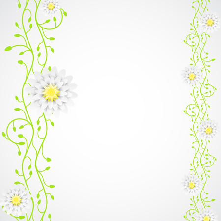 Vector abstract background with two vertical green plant branches with flowers of different size.