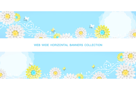 Two vector horizontal web banners with sunny blue background, floral branches and butterflies.