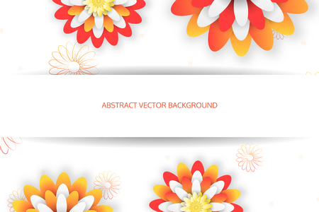 Wide abstract vector background with yellow and red flowers and silhouettes of flower.