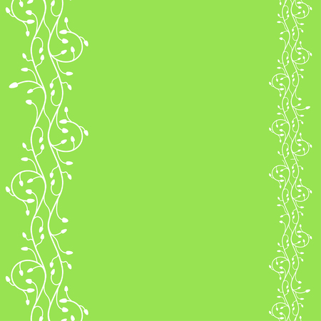 Vector abstract green background with two vertical plant branches of different size.