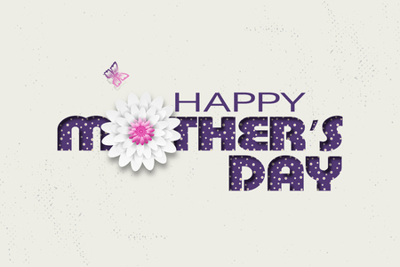 Happy Mothers Day vector wide poster with dark lilac text with floral pattern, pink butterfly and flower at the center on the background with abstract pattern.