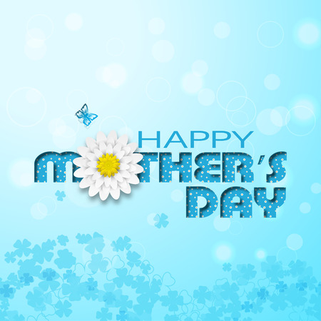 Happy Mothers Day vector poster on the gradient sunny blue background with text with floral pattern and shadow, butterfly and white flowers.