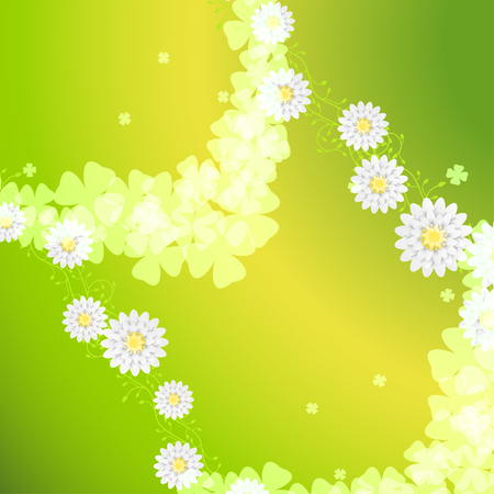 Vector sunny green background with curly branches of flowers, leaf silhouettes, flowers. Illustration