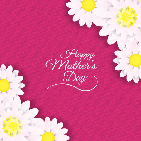 Illustration of Happy Mother's Day greeting poster with flowers on the pink textile background.
