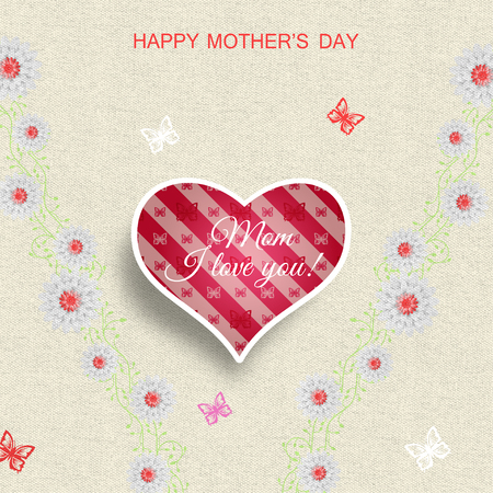 Happy Mothers Day greeting card illustration with curly branches of flowers, heart with butterflies pattern, shadow and butterflies on the light yellow textile background.