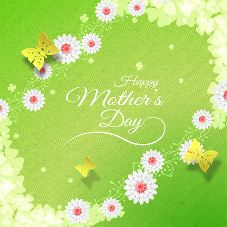 Illustration of Happy Mothers Day on the green textile background with curly branches of flowers, butterflies, leaf silhouettes, flowers.