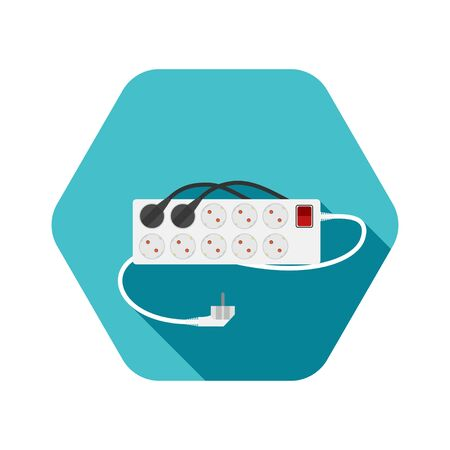 Hexagon icon of modern ten socket electrical extension cord type F with red switch, two plug connected and shadow on the turquoise background. Stock fotó