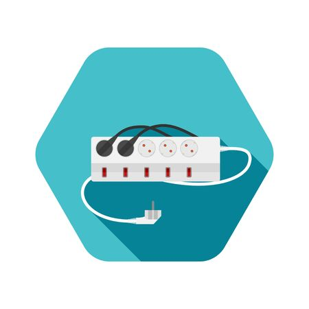 Hexagon icon of modern five socket electrical extension cord type F with five switches, two plug connected on the turquoise background with shadow.
