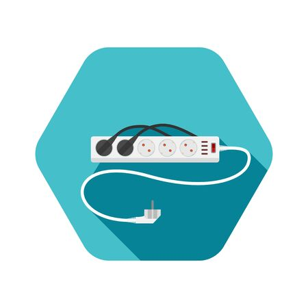 Icon of modern five socket electrical extension cord type F with red switch, four usb ports, two plug connected and shadow on the turquoise hexagon background.