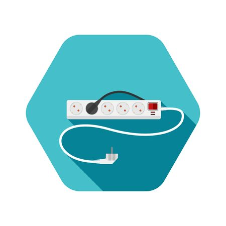 Icon of modern five socket electrical extension cord type F with red switch, two usb connectors and shadow on the turquoise background.