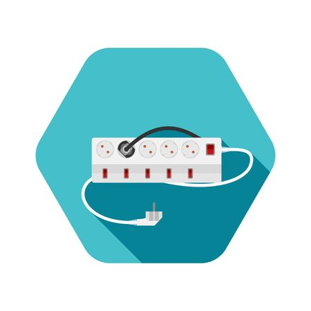 Hexagon icon of modern five socket electrical extension cord type F with six switches, one plug connected on the turquoise background with shadow.