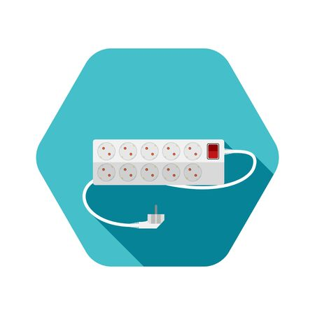 Hexagon icon of modern ten socket electrical extension cord type F with red switch and shadow on the turquoise background. Stock fotó