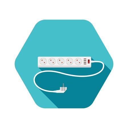 Hexagon icon of modern five socket electrical extension cord type F with red switch, four usb connectors and shadow on the turquoise background.