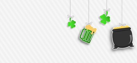 Happy St. Patricks Day Sale wide poster on the gradient gray background with line pattern, magic pot, beer mug, clover leaves hanging on strings cut from paper. Imagens