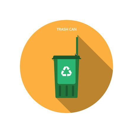 Vector isolated icon of open green trash can with shadow.