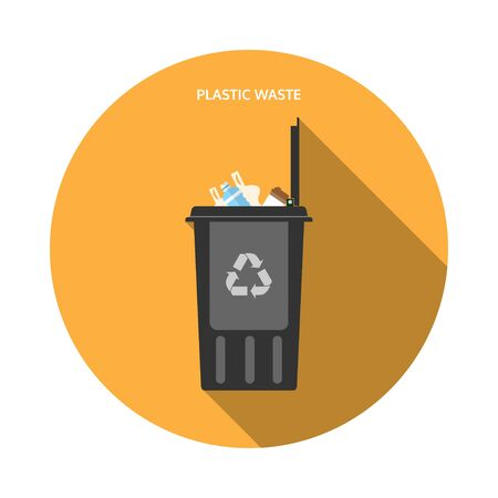 Vector isolated icon of open dark gray trash can with plastic waste on the yellow background with shadow.