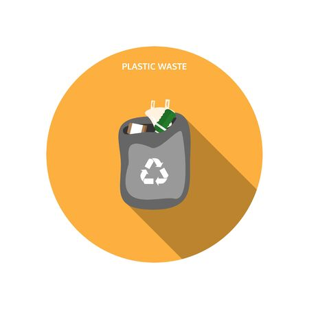 Vector isolated icon of open dark gray trash bag with plastic waste on the yellow background with shadow. Illustration