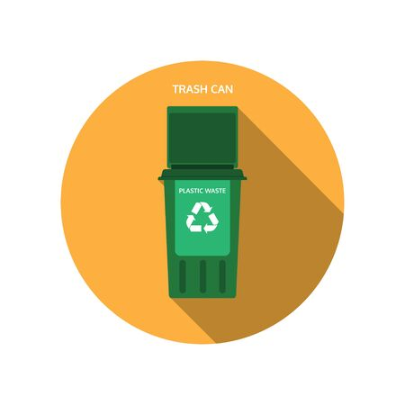 Vector isolated icon of open dark green trash can for plastic waste on the yellow background with shadow.
