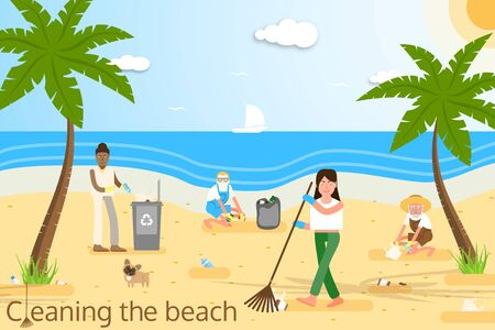 Vector flat illustration of people of different age and race in yellow protective gloves cleaning the beach from plastic garbage with palms, trash can, clouds, sun, seagulls.