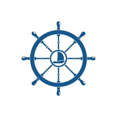 Vector isolated flat blue icon of steering wheel with ship in the center on the white background. Illustration