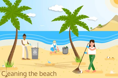 Vector flat illustration of volunteers of different age and race in yellow protective gloves cleaning the beach from plastic garbage with palms, trash can, clouds, sun, seagulls and mountains. Illustration