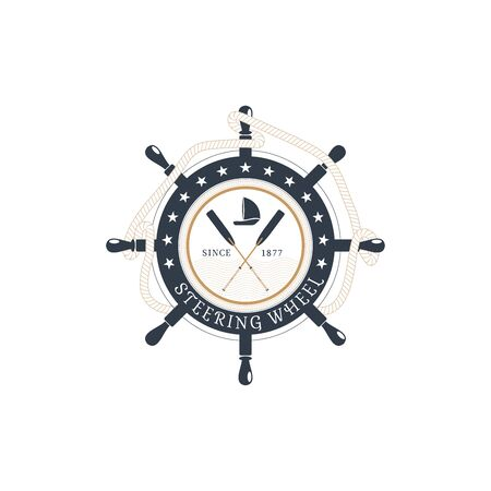 Vector isolated flat icon of steering wheel with hanging rope, crossed oars and ship at the center on the white background. Illustration