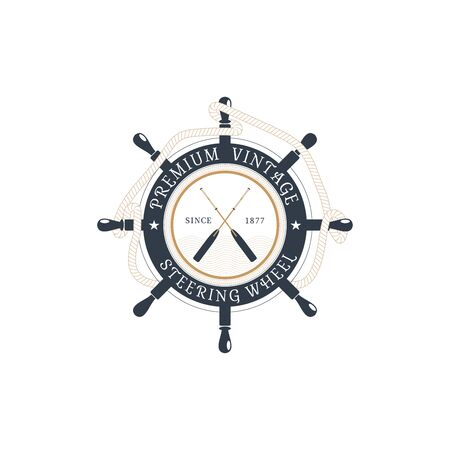 Vector isolated flat label of steering wheel with hanging rope, crossed oars at the center on the white background. Illustration