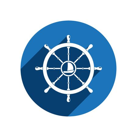 Vector isolated flat white icon of steering wheel with ship in the center on the blue circle background with long shadow. Illustration