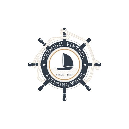 Vector isolated flat label of steering wheel with hanging rope, ship at the center on the white background. Illustration