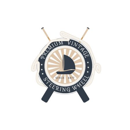 Vector isolated flat icon of steering wheel with hanging rope, crossed oars, rays and ship at the center on the white background. Illustration