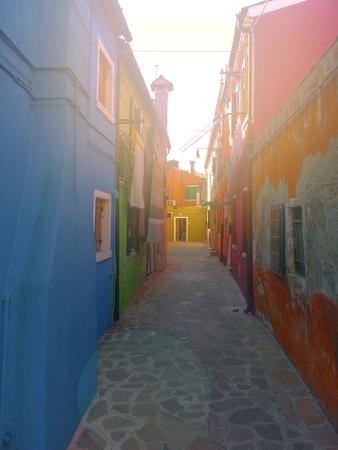 colorful rural buildings of Island Burano Venice Italy Editorial